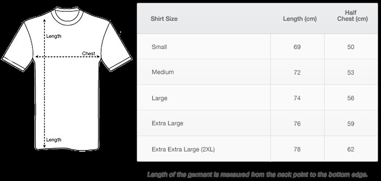 Men's tshirt size chart
