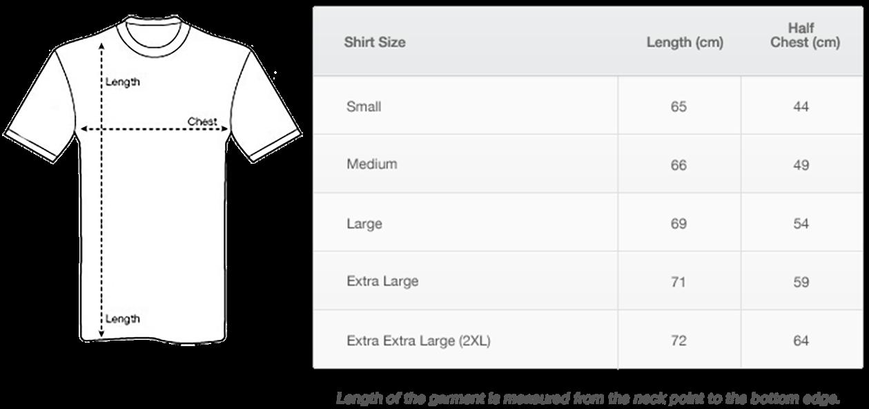 Women's tshirt size chart