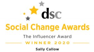 Sally Callow - winner of the 'Influencer' category at the Directory of Social Change Awards 2020